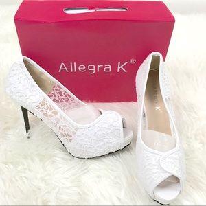 Allegra K 9 Wedding Bridal Heels Lace Peep Toe